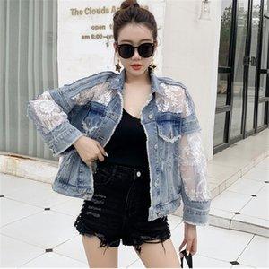 Maille broderie de dentelle Denim Vestes femmes Turn Down Coat Jeans col surdimensionné Patchwork Outwear Vintage Boyfriend Jacket B061