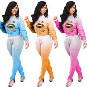 Женщины Cousssuit Gradient Colours Heass Письмо Печать Дизайнер Длинные Рукавы Футболка Брюки Двух 2 шт. Набор вскользь Спортивная уличная уличная одежда