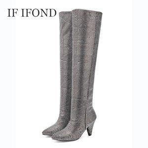 SE IFOND Stivali Donne a punta le dita dei piedi di Bling alta della coscia Stivali donna Moda peluche Warm Scarpe 2020 Zapatos Mujer