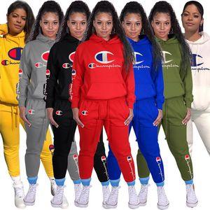 Kadınlar Şampiyonu İki Adet Set Uzun Kollu sweatsuits Kıyafetler Eşofman Koşu Sportsuit Hoodie Legging Kızlar Spor Ter Takımları Spor