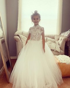 Lace Crystals Flower Girl Dresses High Neck Beaded Little Girl Pageant Dresses Wedding Dresses Cheap Communion Gowns C196