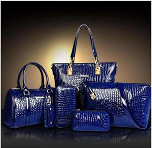 여성 핸드백 유명 브랜드 디자이너 가방 6PCS에 대한 디자이너 도매 가방 악어 패턴 속눈썹 패키지 숄더 토트 지갑 메이크업 가방을 설정