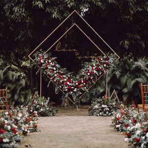القوس الزفاف الحديد المطاوع مربع الرباعي الرف الماس هندسية زهرة اصطناعية موقف حزب خلفية الديكور إطار قوس