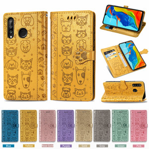 Mobile Phone Case for Huawei P30-Lite PU Leather Cover Cute Cat Dog with Magnetic Buckle Wallet Card Cases Metal Hole (Model:P30Lite)