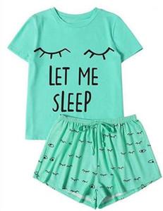 النساء مجموعات أزياء قصيرة الأكمام تي شيرت بلايز السراويل مجموعات 2PCS الملابس مصمم أنثى الصيف عادية فضفاضة وتتسابق الرئيسية البدلة LET ME SLEEP