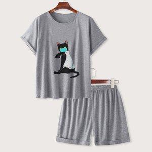 Cartoon T Shirt Two Sleeve Cat Ropa Mujer Set Mask De Womens Pajama Short Women Sweatshirt Printed Shorts Piece O Neck Tytus