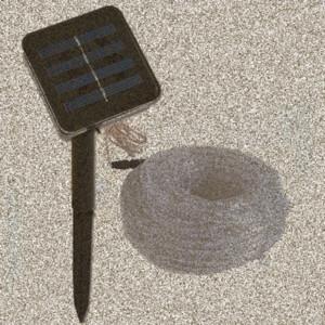 Luces en cuerda solares, 100 LED 33 pies 2 modos de iluminación, 50LED 16.5ft 8 modos de iluminación al aire libre solar impermeable Franja de luz blanco cálido bule G4dc #