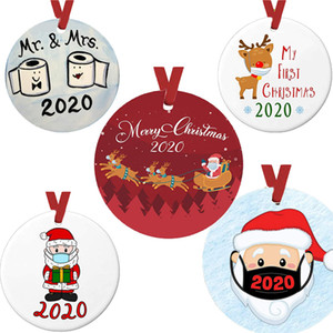 Factory price personalized home decoration Christmas toilet paper pendant 2020 Christmas gift Christmas Tree circular pendant 72 hours deliv