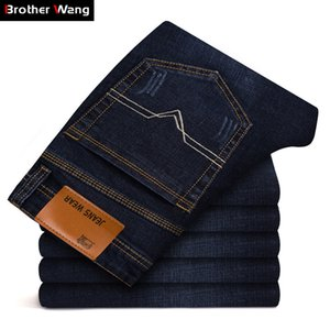 Brother Wang Brand Men's Slim Fit Jeans Fashion Business Classic Style Stretch Jeans Denim Pants Casual Trousers Male Black Blue MX200814