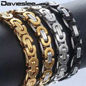 Davieslee Mens Bracelet Gold Silver Tone Byzantine Stainless Steel Chains Bracelets for Men Fashion Jewelry Gift 6 8 11mm DLKB35