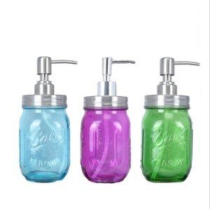 Mason Flasche Flüssigseifenspender Pump Glasglas Lotion Badezimmer Vorratsflaschen Edelstahldeckel Aufsatz- Werkzeug Seashipping LSK805