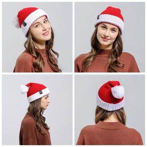Punto de Navidad de Santa felpa gorrita tejida de lana Pompón casquillos calientes Red Creative fiesta Navidad Cap regalo de Halloween Decoraciones adultos Sombrero DHD1193