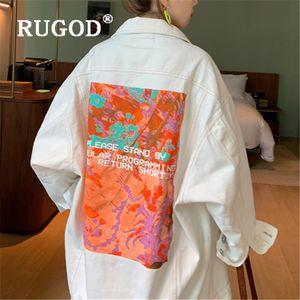 Harajuku Casual Denim Jacket Woman back funny cartoon loose white coat mujer spring autumn long-sleeved street outwear2020