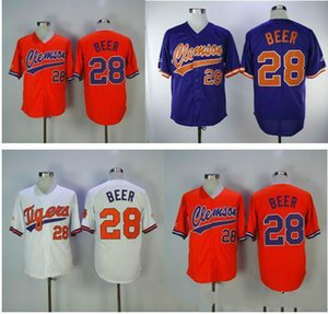 boa qualidade mulheres homens jovens costurado Clemson baseball Jersey 28 Seth Beer cor Branco Laranja Roxo jerseys Frete grátis 09