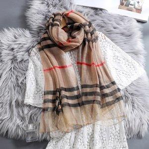 Seidenschal Seidenschal Frauen lange Wolle All-Gleiches dünnen Frühling und Herbst Klassische Plaid-Schal Hijab Frau