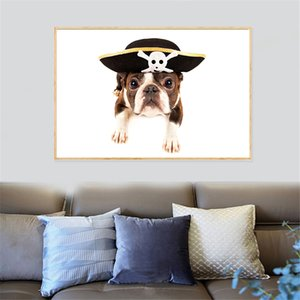 Creative Pop Art Dogs White background Funny Hair Bulldog Uniform Wall Art Posters Canvas Picture For Living Room Decor Cuadros