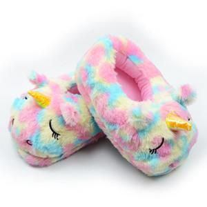 Les amoureux de la maison de Pu en peluche Licorne ANTISKID pantoufles en coton Unicorn