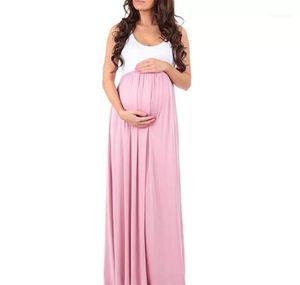 Robe de maternité Mode ras du cou manches d'été lambrissé Robe Jupe Big Womens Casual Dress Femmes Designer