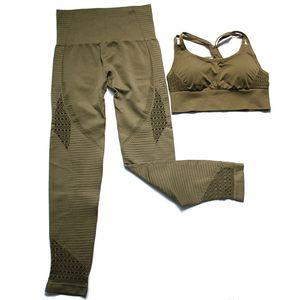 2 Pcs Sports Suits Gym Fitness Lifting Pants Set Women Yoga Sets Sportswear Leggings Padded Push-up Seamless Sports Bra