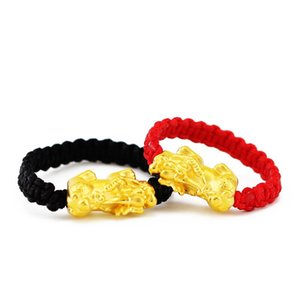 Pure 24K Yellow Gold Ring 3D 999 Gold Pixiu Dragon Son Red String Weave Ring (All size can customize)