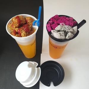 Atacado Branco Preto Snack Porta-copos criativa Fries Fried Chicken Popcorn Cups titular de bebida descartável Fria Milk Tea bandeja de plástico