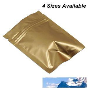 100 Pcs Multi-Sizes Matte Gold Reclosable Foil Aluminum Zipper Lock Packaging Bag for Coffee Tea Powder Mylar Bags Mylar Foil Airtight Pouch