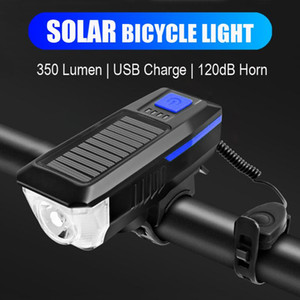 Multi-function Bicycle Light Horn Bell USB Rechargeable Solar Bicycle Front Light LED Bike Head Lamp MTB Cycling Taillight