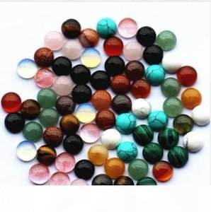Fashion Hot Selling Top Quality Assorted Natural Stone Round Cabochon 8mm Stone Beads 50pcs lot Wholesale Free Shipping