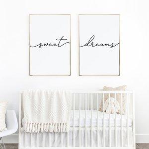 Minimalista poster Nursery Stampa Sweet Dreams su tela pittura decorazione di arte della parete per il bambino di scuola materna o Master Bedroom Picture