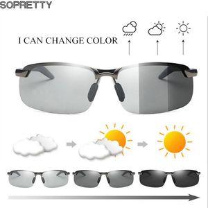 Al-Mg Alloy Photochromic Sunglasses Men Polarized Chameleon Glasses Change Color Sun Glasses Day Night Vision Driving Goggles