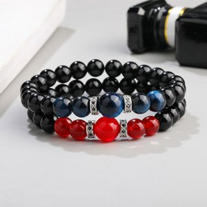 High Quality Black Glass Beads Stone Bracelet Fashion Micro Pave Zircon 8MM Handmade Natural Stone Beads Bracelet for Women Jewelry Gift