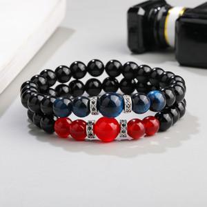 High Quality Black Glass Beads Stone Bracelet Fashion Micro Pave Zircon 8MM Handmade Natural Stone Beads Bracelet for Women Jewelry Gift