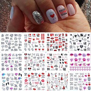 11 12patterns sheet colorful Russian Letter Water Nail Stickers red Sexy Girl Nail Slider Russia Words Manicure Decor Tattoo
