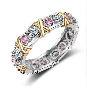 choucong Mujeres Moda anillo hecho a mano de piedra de color rosa diamante 10KT whiteyellow Gold Filled banda anillo de compromiso de boda