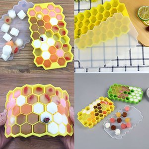 Ice Cube Trays DIY 37 Grids Honeycomb Silicone Ice Maker Mold +Lid For Party Whiskey Ice Cube Storage Containers Tools WX9-623