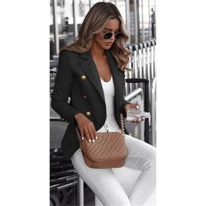 Смысл дизайна Сплошной цвет Blazers с длинным рукавом Карманные шеи маленький костюм Пальто для женщин с кнопками