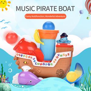 ألعاب كهربائية موسيقية حيوية القراصنة السفينة نموذج يمكن المدفعية حريق كهربائي القراصنة السفينة لعبة ولعب الأطفال هدية