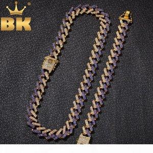 LE ROI NE BLING + BA Mode Bijoux Bracelets Colliers 15mm Fashion Glacé 2 Row Prong Chaînes de Cuba Lien pour les hommes femmes