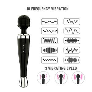 Massaggiatore di bacchetta in silicone, USB 3 velocità 10 frequenza potenti grandi vibratori di massaggiatore magico per spalla, collo posteriore, gambe, muscolo di recupero sportivo