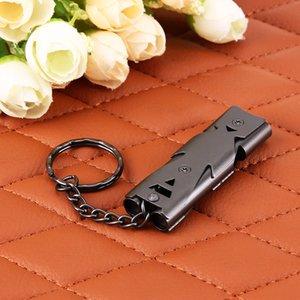 Нержавеющая сталь Свист Открытый двойной трубы высокого децибел Emergency Survival Whistle Keychain Черлидинг Whistle