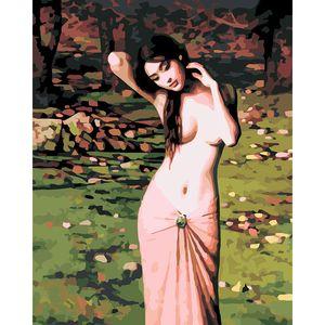 Frame olmadan DIY Tuval Yağ Numaraları Resim Sergisi Setleri Seksi Çıplak Kız Artwork Duvar Süsü tarafından Boya
