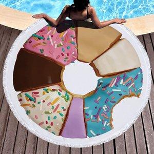 Круглый пляжное полотенце Одеяло Гавайи гавайский Циркуляр Большой микрофибры Терри Бич Roundie Круг Пикник Ковер Yoga Mat с Fringe Мандала