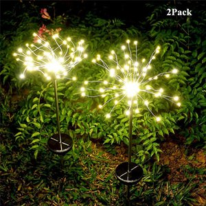 150LED Outdoor Solar Dandelion Lights Garden Lawn firework light Christmas Wedding Fairy Solar Light String Decoration 2PACK