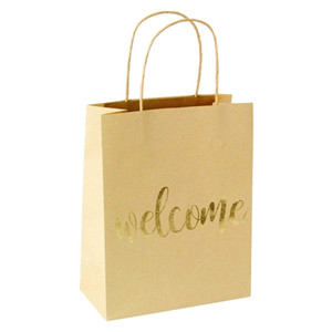 New Product Gold Foil Printed Kraft Paper Gift Bags with Handle Shopping Gift Bag