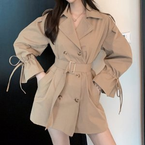 [ewq] Autumn 2020 New Ladies Long-sleeved Trench Coat Belt Double-breasted Fashion Lapel Loose All-match Windbreaker Women Qb319