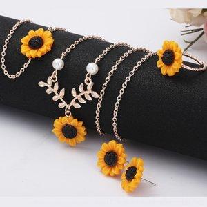 küpe dört parçalı moda ayçiçeği kolye yaprak kolye kolye Dört parçalı kolye heeGH için sevimli çiçek gerdanlık kadınları set set