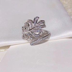 Marca Pure 925 joyería de plata esterlina para las mujeres Anillos de plumas CZdiamond joyería de los anillos de boda anillo de compromiso de la rama de lujo