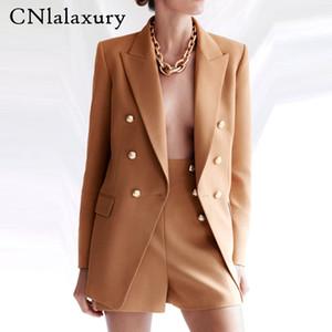 CNlalaxury Frauen england Büro einfach feste zweireihigen Frauen Blazer Jacken und Bermudas zwei Stücke setzt weiblich