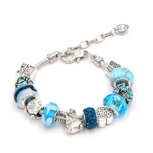 Angel Blue Crystal Glass Beadas Charm Pand Bracelets & Bangles Adjustable Beads Bracelets For Women Gift Charm Bracelet