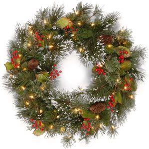 pinheiro grinalda inverno nacional, guirlanda de Natal artificial verde embelezadas com decorações da festa de luz branca
